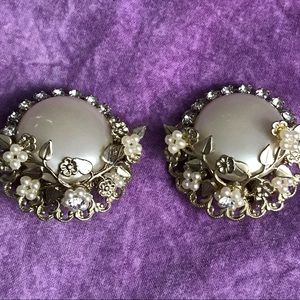 Vintage Floral Clip On Earrings